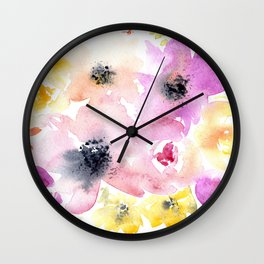 Blooming bouquet #3 || watercolor Wall Clock