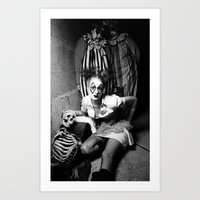 nurse Art Prints featuring Nurse & Clowns by Flashbax Twenty Three