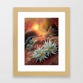 Dino Desert Sunrise Framed Art Print