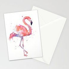 Pink Flamingo Watercolor | Tropical Animals Bird Flamingos Stationery Cards