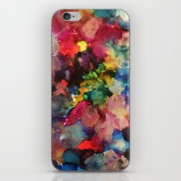 Color Burst - abstract iridescent painting in yellow, red, blue, pink and green iPhone Skin