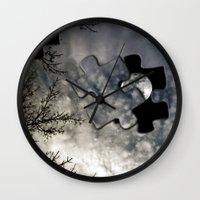 surrealism Wall Clocks featuring Sky Surrealism. by Jess Noelle