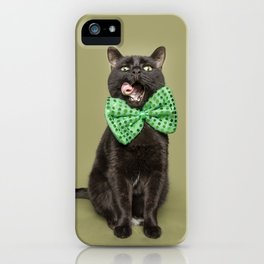 Cat With Green Bow Tie and Tongue Out iPhone Case