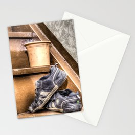 Old children's shoes on a stairway Stationery Cards