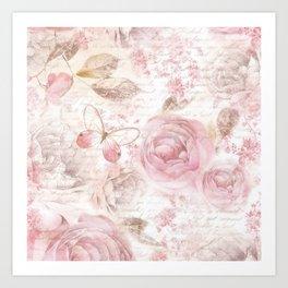 Vintage pastel pink brown butterfly floral typography Art Print