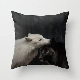 Wolves - Yin & Yang (Digital Drawing) Throw Pillow