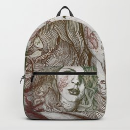 Wake: Autumn (street art woman with maple leaves tattoo) Backpack