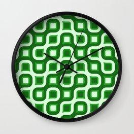 Truchet Modern Abstract Concentric Circle Pattern - Green Wall Clock