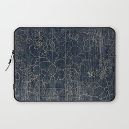 Rustic blue white wood gold floral Laptop Sleeve