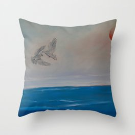 Love and Peace of Two Doves Flying Throw Pillow