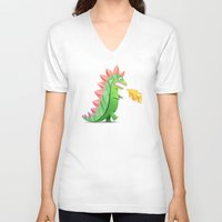 godzilla V-neck T-shirts featuring Godzilla by Keyspice