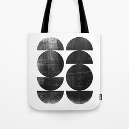 Black and White Mid Century Modern Circles Abstract Tote Bag