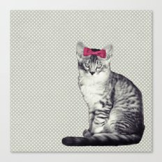 Cat with a Bow Canvas Print