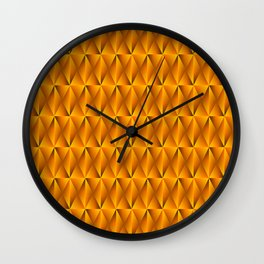 Trickling iridescent gold rhombs from black triangles with volume. Wall Clock
