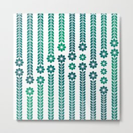 Forrest Retro Flowers Metal Print
