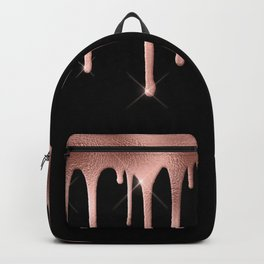 Black & Rose Gold Drip Backpack