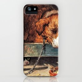 Cat Watches Birds With A Sleeping Dog - Digital Remastered Edition iPhone Case