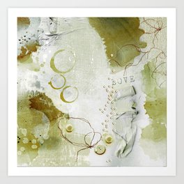 Abstract - Circulating - Richly Textured Design in Sage Green Art Print