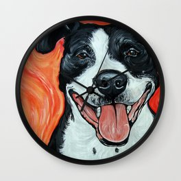Black & White Adorable Pit Bull  Wall Clock