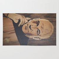 picard Area & Throw Rugs featuring Jean-Luc Picard (Patrick Stewart)  by Andulino