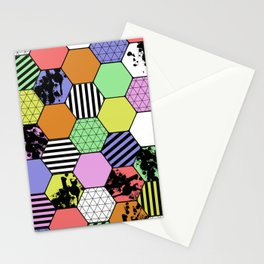 Pastel Tex Hex - Abstract, geometric, pastel themed, hexagon pattern Stationery Cards