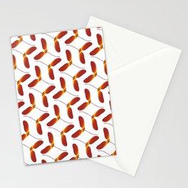 Red Japanese Maple Tree Samara Zigzag Pattern With Alternate Orientation Stationery Cards