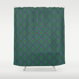 New Delhi #3  Floral Diamonds in Green and Purple Shower Curtain