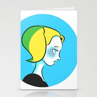 powerpuff girls Stationery Cards featuring Powerpuff Girls: Bubbles by Kristy Nguyen