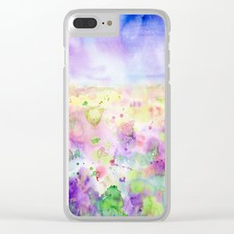Watercolor abstract meadow Painting Clear iPhone Case