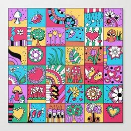 Inchie Doodle Design - Blue Red - Spring Canvas Print