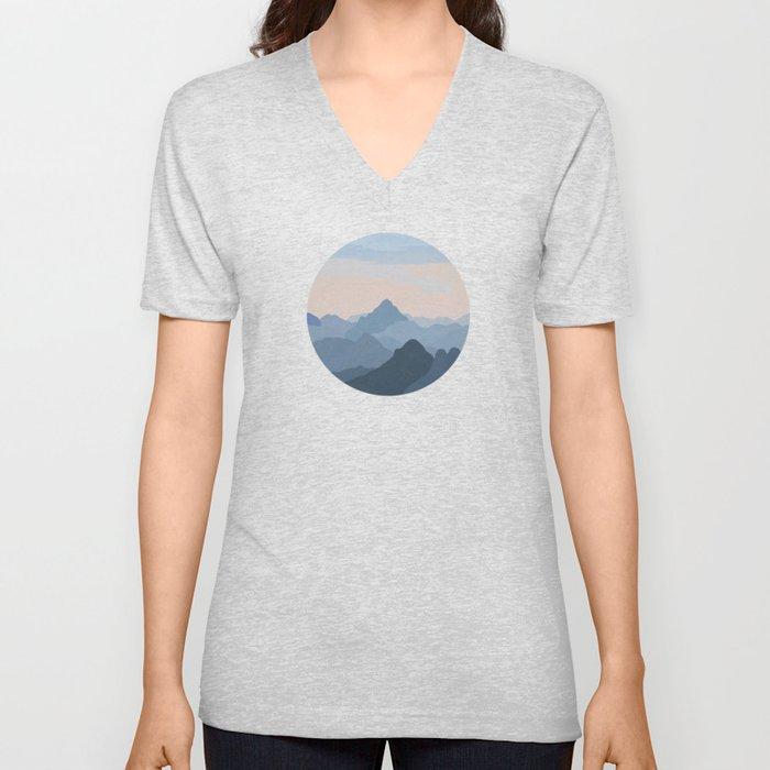 Pastel Sunset over Blue Mountains Unisex V-Neck