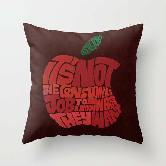 Steve Jobs on Consumers Throw Pillow