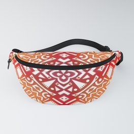 Tribal Tiles II (Red, Orange, Brown) Geometric Fanny Pack