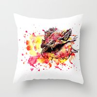 smaug Throw Pillows featuring Watercolor Smaug by Trinity Bennett
