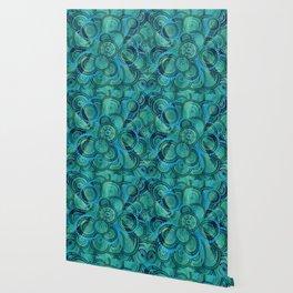 Gentle Teal and blue Circular Tribal  pattern Wallpaper