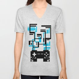 8-BIT JOYSTICK (BLUE AND BLACK) Unisex V-Neck