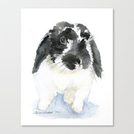 Black and White Bunny Rabbit Watercolor Canvas Print