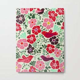 Floral pattern botanical with birds Metal Print