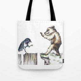 The Bird vs. The Bear Tote Bag