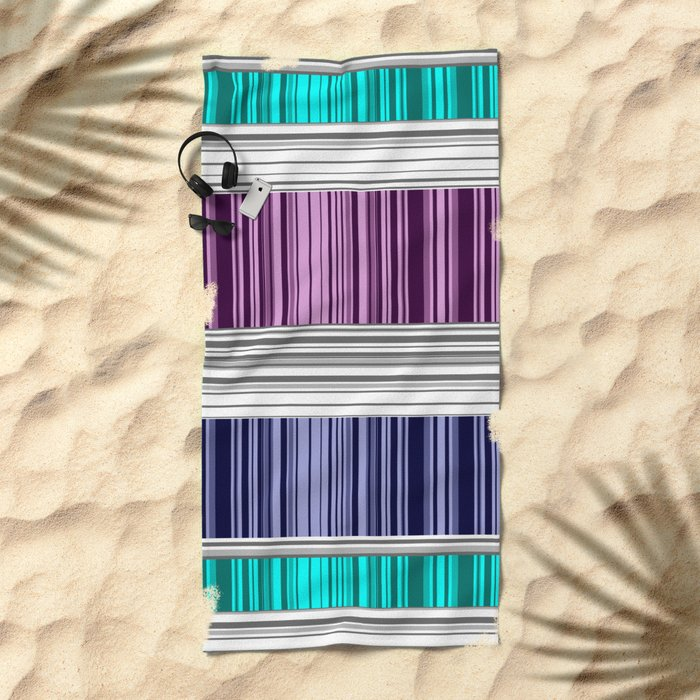 The colorful stripes . Beach Towel