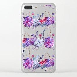 Pastel pink lavender blue watercolor succulents cactus floral Clear iPhone Case