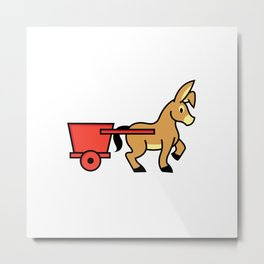 Mule and cart icon Metal Print