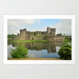United Kingdom Wales, Cardiff, Castle Caerphilly Castles Pond Ruins Cities castle Art Print