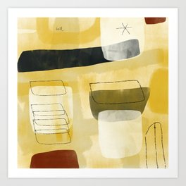 Yellow and Cream Pattern Arrangement with Hollow Forms Art Print