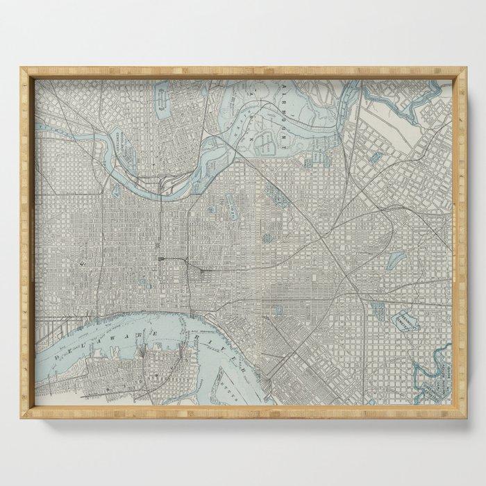 Vintage Map of Philadelphia PA (1901) Serving Tray by bravuramedia