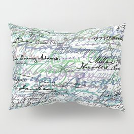 All The Presidents Signatures Teal Blue Pillow Sham