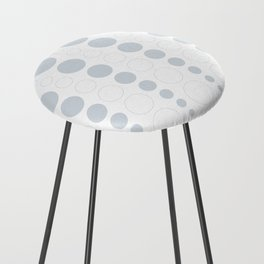 Up and down polka dot pattern in white and a pale icy gray Counter Stool