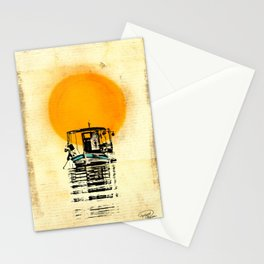 Sunset Boat Silhouette Stationery Cards