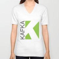 kafka V-neck T-shirts featuring Kafka Educación en línea by Kafka Prepa Abierta