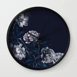 dark paeonias blue floral pattern Wall Clock
